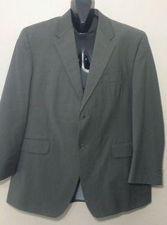 BERT PULITZER Muted Olive Sport Coat 100% Wool 2 Btn Blazer Jacket Mens Size 48R #BertPulitzer #TwoButton