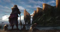 Bulldog Wanderer by Christof Grobelski Fantasy Castle, Medieval Fantasy, Matte Painting, Light Painting, Watercolor Paintings, Dog Illustration, Character Portraits, Fantasy Landscape, Fantasy Artwork