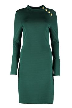 Suzie Button Detail Bodycon Dress | Boohoo