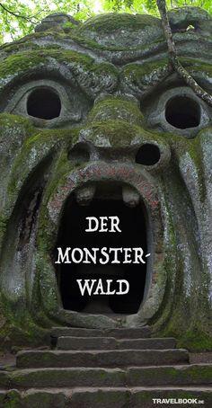 """Skurril, schön, unheimlich: Versteckt in einem Tal nördlich von Rom gibt es einen Park mit bizarren, riesigen Skulpturen, aus rohem Stein gehauen und mit Moos bewachsen. Der """"Heilige Wald der Ungeheuer"""" wurde im 16. Jahrhundert von einem Adeligen angelegt, geriet dann in Vergessenheit und wurde erst Jahrhunderte später von dem Künstler Salvador Dalí neu entdeckt."""