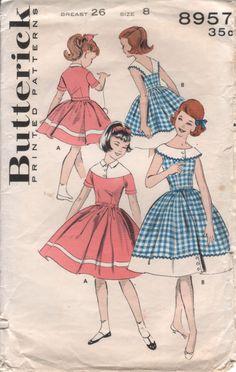 50s Vintage Sewing Pattern Girls' FULL SKIRT DRESS by HoneymoonBus, $7.99