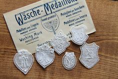 Collection of 6 double initial lace embroidery monogram label, tag antique lace lace embroidery trim lace initial washing label by Yebisu on Etsy