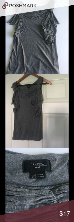 Anthropologie tank, size small Beautifully detailed gray tank, soft, gently used. Anthropologie, brand Deletta, size small. Anthropologie Tops Tank Tops