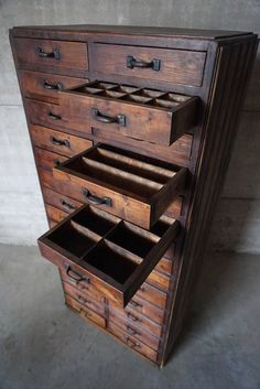 Industrial Pinewood Workshop Cabinet, 1920s | From a unique collection of antique and modern commodes and chests of drawers at https://www.1stdibs.com/furniture/storage-case-pieces/commodes-chests-of-drawers/