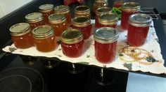 Pepper jelly. My creations! Orange sweet bell peppers with habenaro ..and red sweet with habenaros!!