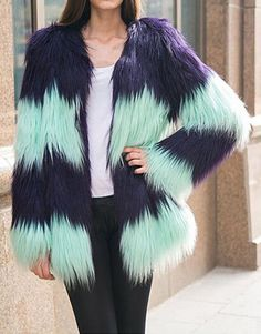SUPER QUALITY Contrast Color Striped Hairy Shaggy Faux Sheep Goat Fur Women's O Neck Faux Fur Jackets Long Coat Outerwear