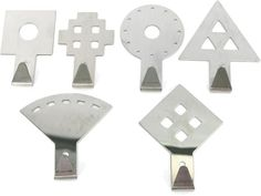 These stainless steel geometric hooks can make organizing fun and modern. Set comes with wall mount supports & Screws. Each set comes with one each of the six shown shapes. Peg Hooks, Storage Hooks, Wall Mount, Stainless Steel, Organization, Modern, Getting Organized, Organisation, Trendy Tree