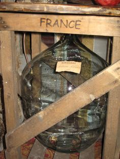 Demijohn in wooden crate! Just beautiful! #LaboutiqueVintage www.laboutiquevintage.co.uk