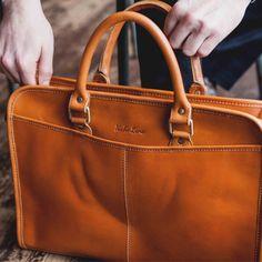 Leather briefcase office bag 14 inch laptop satchel by NicheLane