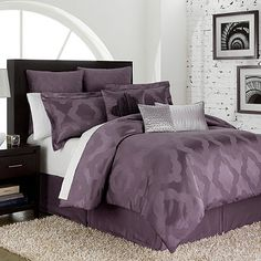 Relaxed and urban, the Circa comforter features a beautifully colored amethyst ground with a richly textured jacquard weave. A Moroccan motif gives this set a distinctive international flavor that will turn your bedroom into a cozy, sophisticated retreat. Purple Bedrooms, Guest Bedrooms, Master Bedroom, Bedroom Decor, Bedding Decor, Bedroom Ideas, Purple Comforter, Comforter Sets, King Comforter