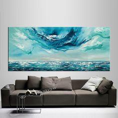 Azul mar pintura al óleo abstracta grande pintura por largeartwork