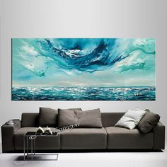 Blue Ocean Oil Painting Abstract Large Painting Gifts for him ABSTRACT Art Seascape Wall Art Dallas Artist
