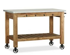pottery barn zinc top freestanding island - I just love this. Wonder where I can find the wheels??