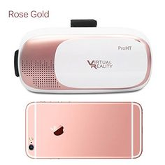 3D VR Box 88203A Virtual Reality Glasses Headset for iPhone76s6 plus Samsung Galaxy s6 Edge and Other 3560 IOS Android Smart Phones Rose Gold *** For more information, visit image link.