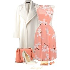 Pastels with white coat. JW fashion, modest dress outfit. Coral peach floral dress.