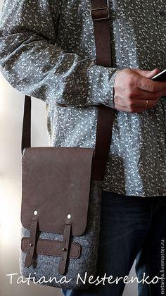 """Купить Сумка """"Fusion"""" - серый, однотонный, мужская сумка, сумка из натуральной кожи, сумка из войлока"""
