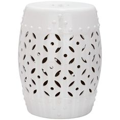 Safavieh Paradise Harmony White Ceramic Garden Stool ($90) ❤ liked on Polyvore featuring home, outdoors, patio furniture, outdoor stools, outdoor patio stools, outdoor patio furniture, white patio furniture and garden stool