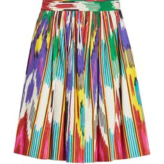 Etro Ikat Print Midi Skirt ($460) ❤ liked on Polyvore featuring skirts, multicolored, cotton skirts, mid calf skirts, midi skirt, multi color skirt and holiday skirts
