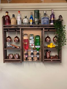 Diy Home Bar, Home Bar Decor, Drink Display, Bottle Display, Home Cocktail Bar, Small Bars For Home, Wall Mounted Bar, Bar Shed, Alcohol Bar