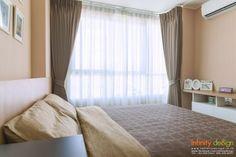 ห้องนอน บรรยากาศแสนอบอุ่นกับม่านจีบสีน้ำตาลอมเทา @ U Delight บางซ่อน สเตชั่น
