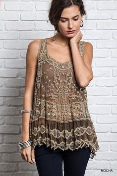 Umgee Vest Top Size XL S M L Fringe Cardigan Tan Tank Boho Womens Boutique New