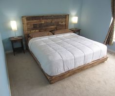 Step-by-step project guide on how to build a king-sized pallet headboard from scratch. This style headboard can be made for any size bed. Furniture, Homemade Beds, Pallet Headboard, Headboard Styles, Bedroom Furniture, Bed, Diy Platform Bed, Bed Plans, Murphy Bed Plans