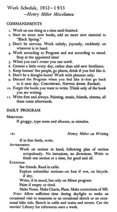 Henry Miller Commandments - Good tips also for writing a thesis