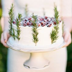 simple Christmas/winter cake with cranberries and rosemary