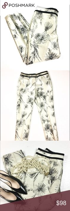 """New Brooks Bro Silk Pants w/Grosgrain Waist Detail These are absolutely gorgeous! They are light and breezy and perfect for summer, being unlined and made of 100% silk.   Fabric is a soft off-white with a tiny touch of gray, I'd call it oyster. Abstract, pen-and-ink drawing style floral. The waist is trimmed smartly with grosgrain ribbon. New with Tags  Seem like curvy"""" fit (unofficially), based on their shape and measurements. Waist 34; Hip 42; Inseam 28.5; Leg opening 7"""" flat  Shipped…"""