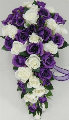 purple rose bridesmaid bouquets | Details about Wedding bouquet purple white rose teardrop silk flowers ...