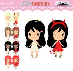 Chibi angel or demon clipart