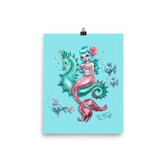 Mysterious Mermaid on Aqua • Art Print – Miss Fluff's Boutique