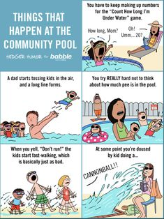 Fun at the pool! A cartoon for Babble.