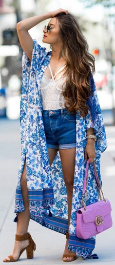 #summer #outfits Blue Printed Poncho + White Lace Top + Denim Short + Brown Sandals