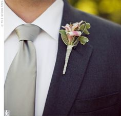 Love the charcoal gray suits for the groom & groomsmen.