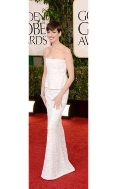 Anne Hathaway  WHAT:    Chanel Haute Couture and Chanel Fine Jewelry  WHERE:    70th Annual Golden Globe Awards  WHEN:    January 13, 2013