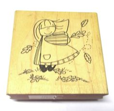 Little girl rubber stamp Children leaves outdoors Autumn Fall grass scenic unm #TCNDawnRice #ChildrengirlChildpeoplestamps