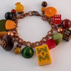 Armband Mahjong Backgammon, Roulette, Charmed, Partner, Bracelets, Vintage, Jewelry, Products, Game Pieces