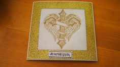 Complete Embroidered Sympathy Card Angel Wings and Cross
