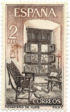 Issued in Spain - Monastery of Yuste Old Stamps, Vintage Stamps, Postage Stamp Art, Lost Art, Stamp Collecting, Mail Art, Vintage Posters, Prints, Doilies Crochet
