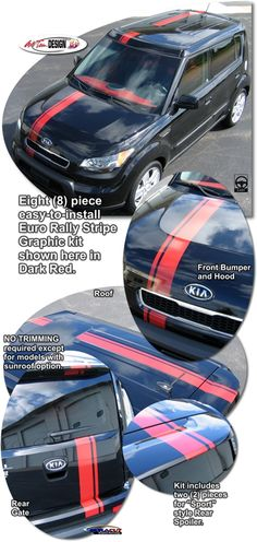 Kia Soul Rally Stripe Graphic kits that are Precut and ready to install.