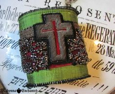 Madonna Enchanted textile cuff religious cross antique green silk red velvet Victorian beads bracelet bohemian boho by madonnaenchanted on Etsy