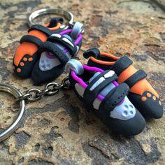 Rock Climbing Shoe Keychains - Partner's Set (custom) by HeelHooks on Etsy
