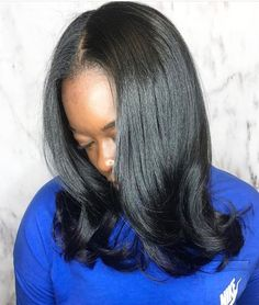Hot oil treatment and silk press on natural hair Love Hair, Gorgeous Hair, Silk Press Hair, Blowout Hair, Natural Hair Blowout, Pressed Natural Hair, Curly Hair Styles, Natural Hair Styles, Hair Laid