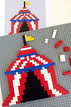 2D Lego Mosaics: 3 Printable Circus Designs   Childhood101