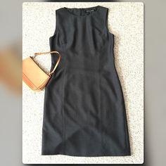 "Kasper Shift Dress Fully lined sleeveless dress, back zipper, mid back slit. 70% polyester, 30% wool. Dry clean only. Size 6. Length measured from center back approx 37.25"" long. Color: charcoal grey Kasper Dresses Midi"