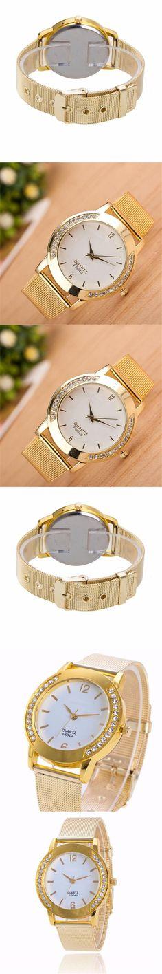 Womens Watches Fashion Women Crystal Golden Stainless Steel Analog Quartz Wrist Watch Relogio feminino Watches for women A21