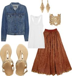 """Rust Gold Long Skirt"" by mandeerose ❤ liked on Polyvore"