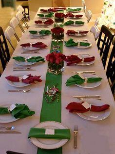 Servilletas rojas y verdes