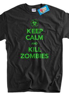 Keep Calm And Kill Zombies Screen Printed TShirt by IceCreamTees, $14.99